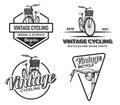 Set of vintage road bicycle labels, emblems, badges or logos.
