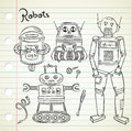 Set of vintage robot in doodle style Royalty Free Stock Image