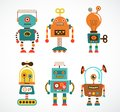 Set of vintage robot icons cute robots Royalty Free Stock Image
