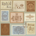 Set of Vintage Royalty Stamps Stock Photography