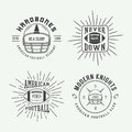 Set of vintage rugby and american football labels, emblems and l