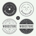 Set of vintage sawmills labels, emblems, logo, badges and design elements Royalty Free Stock Photo