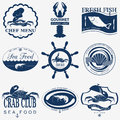 Set of vintage sea food logos vector logo templates and badges Stock Images