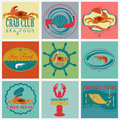 Set of vintage sea food logos vector logo templates and badges Royalty Free Stock Images
