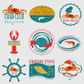 Set of vintage sea food logos vector logo templates and badges Stock Photos
