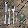 Set of vintage silverware kitchen utensils Royalty Free Stock Photo