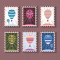 Set of vintage stamp with balloon Royalty Free Stock Photo