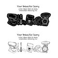 Set of vintage style baking tools stickers