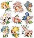 Set of vintage style flower fairy illustrations
