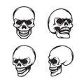 Set of vintage style skulls in four view plans. Vector illustration.