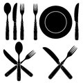 Set vintage styled cutlery silhouettes designs Royalty Free Stock Image