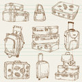 Set of Vintage Suitcases Stock Images