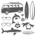 Set of vintage surfing design elements in monochrome style