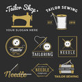 Set of vintage tailor shop emblem logo labels badges design elements monochrome sewing template collection vector Royalty Free Stock Image