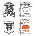 Set of vintage Thanksgiving Day emblems, signs, design elements