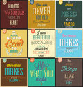 Set of vintage typographic backgrounds motivational quotes retro colors with calligraphic elements Stock Photo