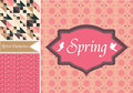 Set vintage valentine patterns pink colours Stock Photo