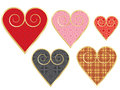 Set of vintage valentines golden with pattern Royalty Free Stock Photo