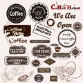 Set of vintage vector coffee badges and labels for cafe house design Royalty Free Stock Photo