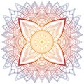 Set of vintage Wedding Invitation card with Mandala pattern and in color. Meditation element for India yoga. Ornament