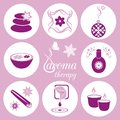 Set of violet aromatherapy icons on light violet background Royalty Free Stock Photo