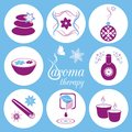 Set of violet and blue aromatherapy icons on light blue background Royalty Free Stock Images