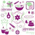 Set of violet and green aromatherapy icons Stock Photography