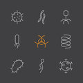 Set of virus and bacteria icons Royalty Free Stock Photo