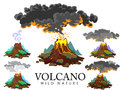 A set of volcanoes of varying degrees of eruption, a sleeping or awakening dangerous vulcan, salute from magma ashes and