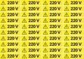 Set of 220 volt stickers
