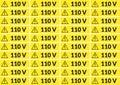 Set of 110 volt stickers