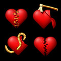Set of the volume broken hearts. Stock Image