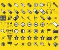 Set von 63 Media und von Web-Ikonen Lizenzfreies Stockbild