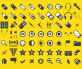 Set von 63 Media und von Web-Ikonen Stockfoto