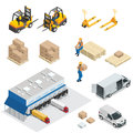 Set of Warehouse equipment. Shipping and delivery flat elements. Workers boxes forklifts and cargo transport.