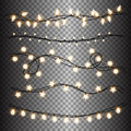 Set of warm light lamps garlands, festive decorations. Glowing christmas lights  on transparent background Royalty Free Stock Photo