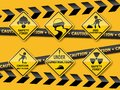 Set of warning caution sign Royalty Free Stock Photo