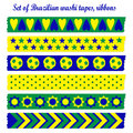 Set of washi tapes, ribbons in Brazilian colors Royalty Free Stock Photo