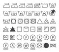 Set of washing symbols laundry icons isolated on white background Royalty Free Stock Photography