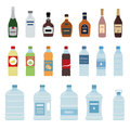Set of  water and alcohol bottle icon on white background. Royalty Free Stock Photo