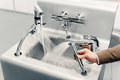 Set of water mixing faucets closeup view Stock Images