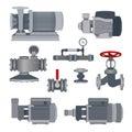 Set-water motor, pump, valves for pipeline. Vector