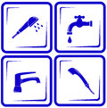 Set water supply faucet mixer tap valve icon blue objects Stock Photo