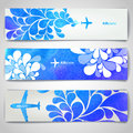 Set of watercolor Airplane artistic banners Royalty Free Stock Photo