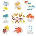 Set of watercolor autumn signs and symbols isolated on white. Royalty Free Stock Photo