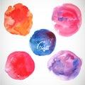 Set of watercolor blobs circle design elements