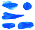 Set of watercolor blue brush strokes isolated on white background Royalty Free Stock Photo
