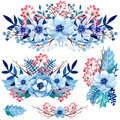 Set of Watercolor Bouquets with Blue Leaves, Flowers and Red Berries