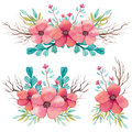 Set Of Watercolor Bouquets With Branches And Pink Flowers