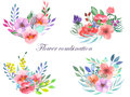 Set of watercolor bouquets with flowers, leaves and plants